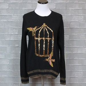 H&M Gold Sequin Embroidered Birdcage Sweater NWT